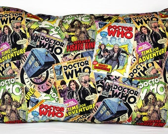 Pillowcase made with Doctor Who fabric - fits 13 x 18 Travel or Toddler Pillow