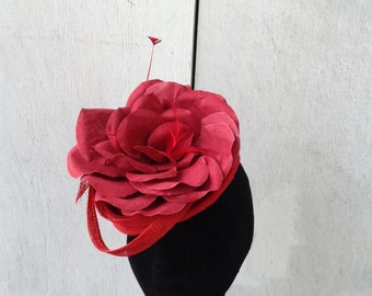 "Couture Derby Fascinator- Headpiece - Hat- Lace- Sinamay- Red- ""Gabriella"" - Kentucky Derby- Wedding - Church-Women's Headwear- Millinery"