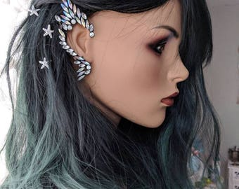 Elven elf ear cuff fairy ear piece,fairy photo prop, fairy festival, fairy ear cuff costume accessories, ear decor, rhinestone fairy cuff