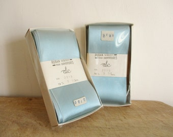 Set of 2 vintage french ribbons for blanket, 1960s, Bleu viscose ribbon France, Sewing supplies, NEW