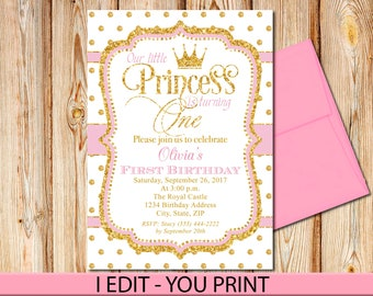 Pink and Gold First Birthday Invitation, Princess, Birthday Invite, Princess Invitation, Crown, Printable