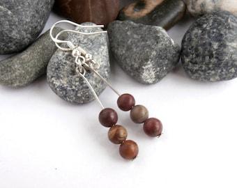 Stone Earrings - Sterling Silver Ear Wires - Vintage Jewellery - Drop Earrings