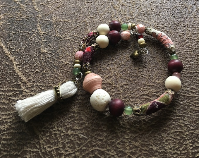 Chim-Chim-Cheree  - wrap around kmono cord bead bracelet with paper beads and essential oil lava bead.