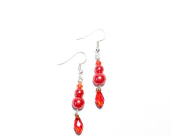 Red Pearl and Crystal Dangle Earrings
