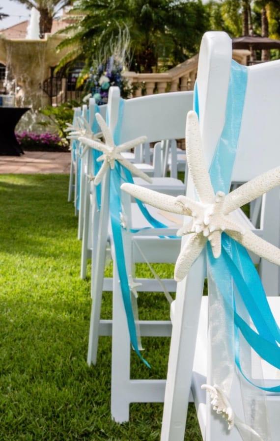 Wonderful Beach Wedding Starfish Chair Decoration With Natural Starfish