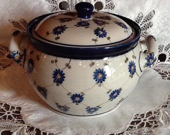 Polish Pottery Medium Canister with Handles - originates from Boleslawiec, Poland