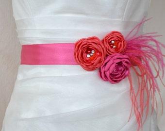 Bridal belt, Coral and Hot Pink Bridal sash, Floral Bridal Belt, sash belt,  Flower wedding sash, Flower wedding dress belt