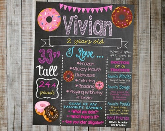 Donut Birthday Chalkboard / Donut Party / Donut Birthday Party / Donut Birthday Decorations / Printable Birthday Chalkboard / Donut Bday