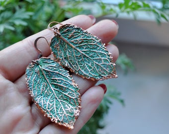 Mint leaf earrings, copper electroforming, leaves jewelry, electroform real plant, green earrings, statement wife gift