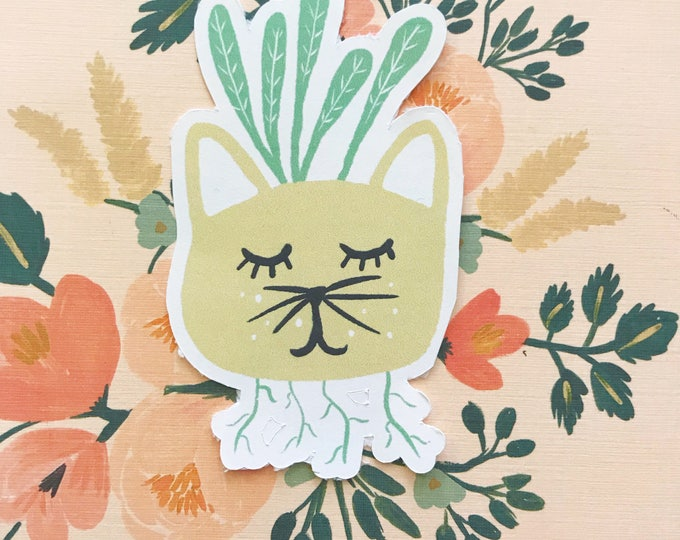 Yellow Kitty Plant Die Cut