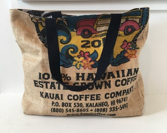 Oversized Tote Bag/ Beach Bag/ Market Tote/ Hawaiian Coffee Sack