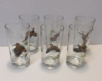 Vintage Ned Smith Highball Glasses Wild Bird Series Set of Six