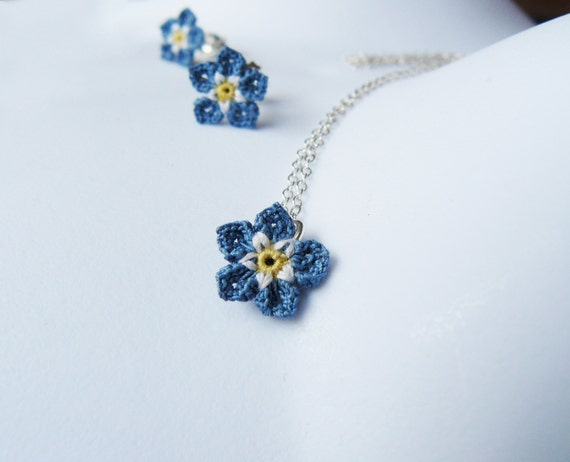Forget me not necklace crochet lace flower sterling silver aloadofball Image collections