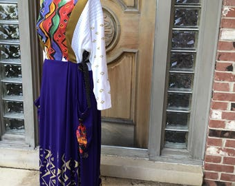Vintage boho wearable art abstract designs rayon one size maxi