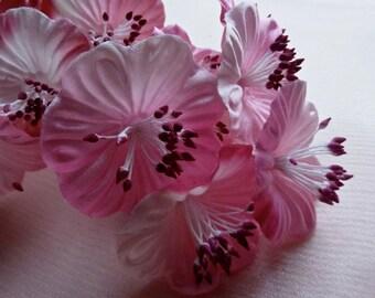 Pink Satin Millinery Flower YoYos in for Bridal, Headbands, Fascinators, Floral Supply MF 82