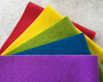 Hand Dyed Felted Wool, BRIGHT Assortment, 5 pieces in Vivid Colors, Perfect for Rug Hooking, Applique and Crafts