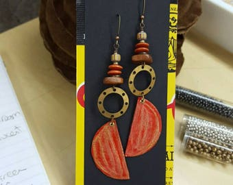 Upcycled bottle cap earrings. Textural. Super long. Long earrings. Reuse. Recycle. Upcycle.