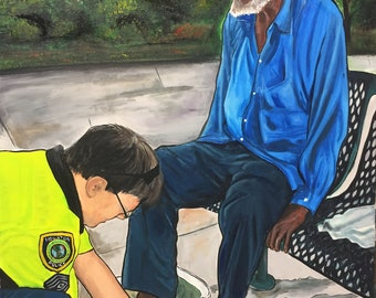 Hand painted gift portrait honoring first responders