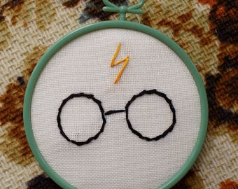 """Harry Potter Hand Embroidery in a 3.5"""" plastic hoop"""