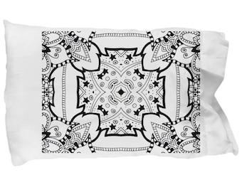 DIY coloring mandala pattern on pillowcase. Paint to relax.