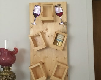 Wine rack, shelf with lighted stained glass inlay