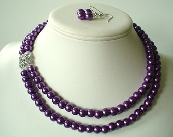 Two Strand Dark Purple Pearl with Square Rhinestone Pendant Beaded Necklace and Earring Set  Great Brides or Bridesmaid Gifts