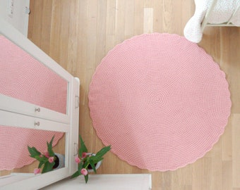 Round Rug Baby Pink Large - Crochet Wool Rug Felted - Nursery rug baby girl room big pink mat - Hand crochet pink bedside rug