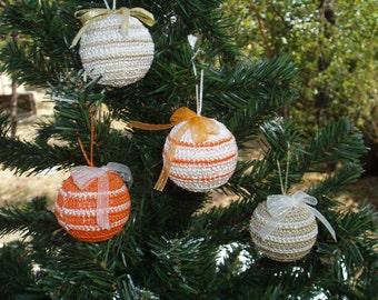 Christmas Decoration, 4 Christmas Crochet Balls Ornaments, Handmade Shatterproof Balls, OOAK Ornaments