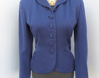 Vintage 1940s Fitted Navy Blue Jacket by LIVINGSTON BROS San Francisco and Jaunty Junios