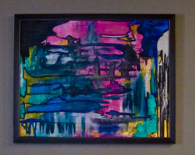 """Framed Abstract Painting """"Overloaded"""""""