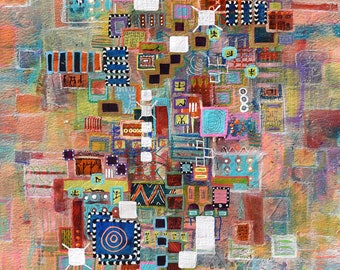Mixed media, Acrylic, Intuitive, colorful original painting, abstract #PPITCHERART
