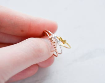 Sterling silver stacking ring, bow ring, stacking ring