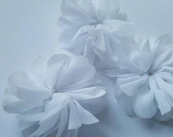 White fabric flower hair flower pom pom flower chiffon flower chiffon ballerina flower white fabric flowerwholesale chiffon flower 25 ballerina flower tutu flower diy headband supply mightylinksfo Images