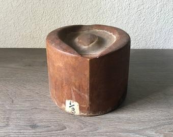 Vintage Wood hat form Mold, Primitive Millinery 8 1/2