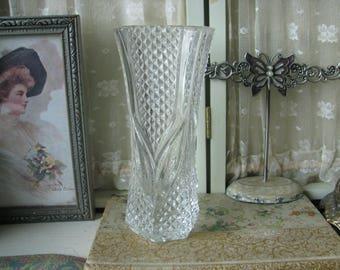 Vintage Pressed Patterned Glass Miniature Flower Bouquet Vase Elegant Vase Wedding Vase Bridal