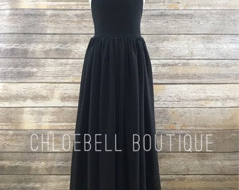 Black Floor length flower girl dress- Black chiffon dress - Black junior bridesmaid dress - Black Tie event girls dress - Special Occasion -