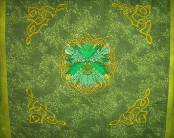 Green Man Embroidered and Quilted Wall Hanging