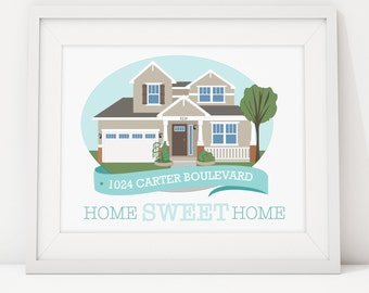 House Portrait Illustration Custom Print, Home Sweet Home Drawing, Realtor Gift, Paper Anniversary, Christmas, Holiday, Newlywed, Homeowners
