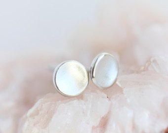 Organic silver studs, pebble earrings, recycled silver, eco friendly, minimalist, modern, everyday, post earrings, simple