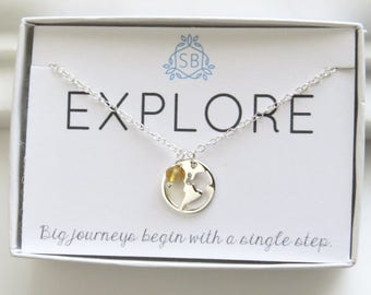 Traveler Gift • World Necklace and Birthstone • Earth Necklace • Journey Necklace • Graduation Gift • Bon Voyage Necklace • E01