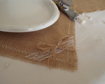 "Burlap Placemats, Set of Burlap and Lace 12""x12"" or 12""x14"", Rustic Table Placemat"