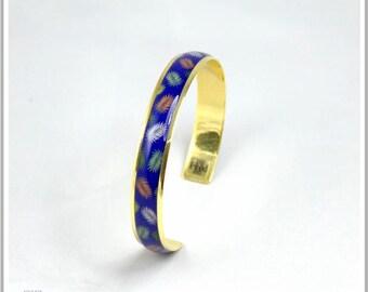 Gold plated Bangle 24 k blue palm leaves