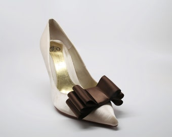 Brown Satin Ribbon Bow Shoe Clips Set Of Two, More Colors Available
