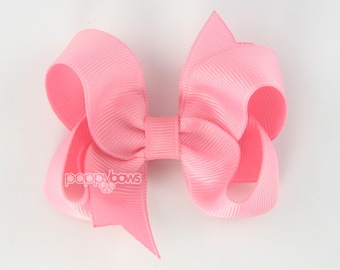 Cotton Candy Hair Bow - Baby Toddler Girl - Solid Color 3 Inch Boutique Bow on Alligator Clip Light Pink