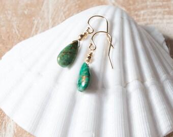 Green Azurite Earrings/Green Teardrop Obsidian Earrings/Green Gemstone Teardrop earrings/Green Teardrop Earrings/Sagittarius birthstone