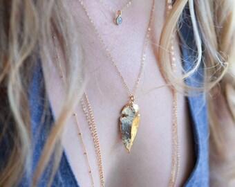 Kahawai necklace - long triple layered gold necklace, triple strand necklace, long 14kt gold filled layering necklace, maui, hawaii