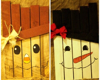 Reversible Scarecrow/Snowman for Fall Decorating