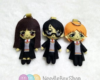 Harry Potter, Hermione Granger and Ron Weasley Felt Doll Keychain SET