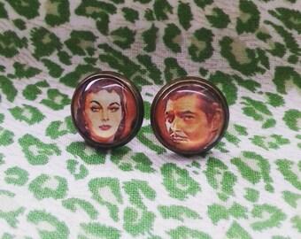 Scarlet and Rhett 'Gone with the Wind' stud earrings