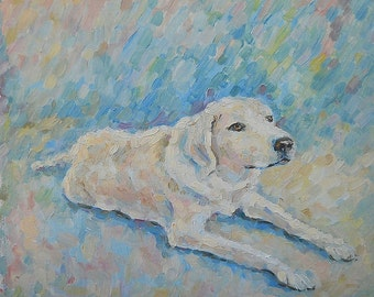 Original Custom Dog Pet Portrait Memorial Oil Painting from Photo great present for father Animal Gift idea Doggy Picture Gift for doglovers